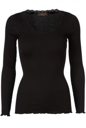 Babette Long Sleeve Silk Top - Black